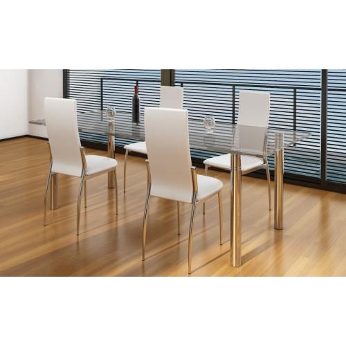 4 sillas de restauración cromo cuero blanco