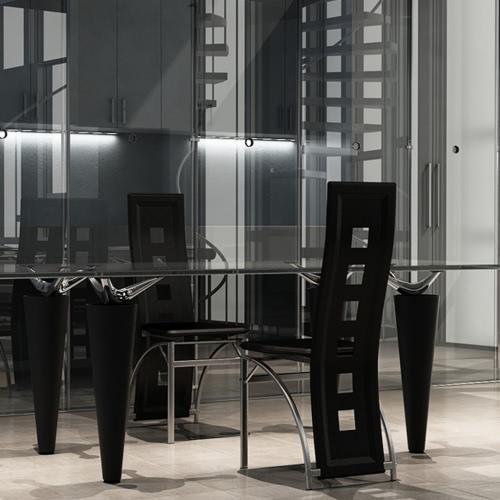 2 sillas de comedor de acero negro