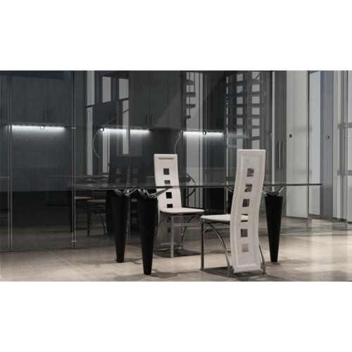 2 Salón sillas de acero blanco