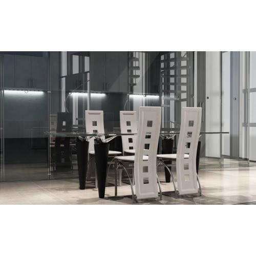 4 Comedor blanco sillas de acero
