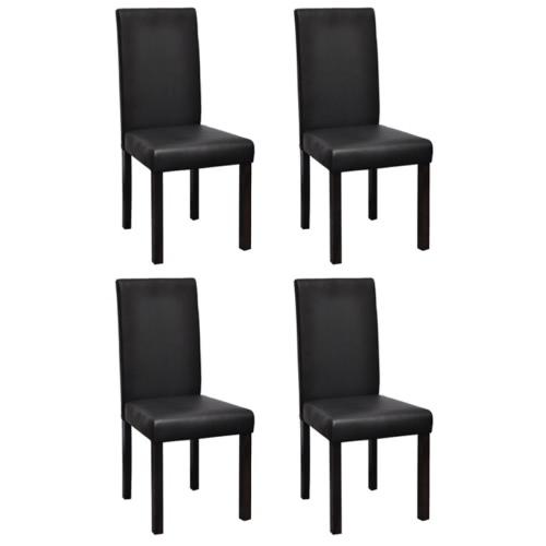 X 4 sillas de comedor de piel negro