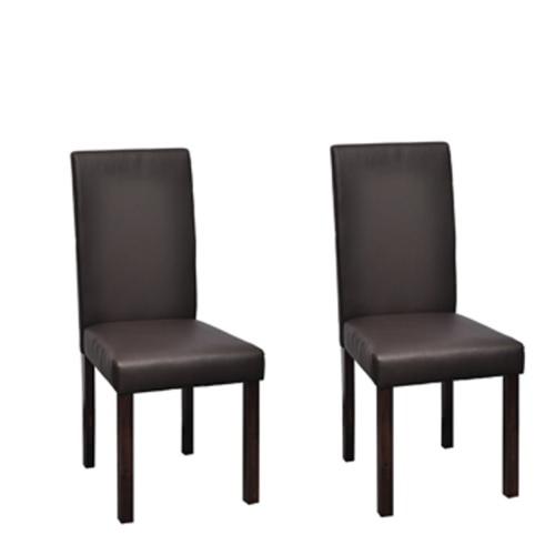 X 2 sillas de comedor de piel marrón