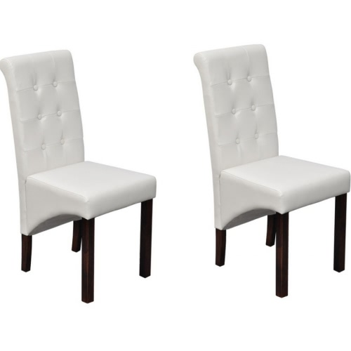 Set of 2 Antique White Artificial Leather Dining Chairs