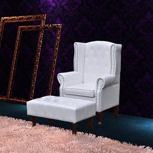 sillón de orejas con el blanco otomana