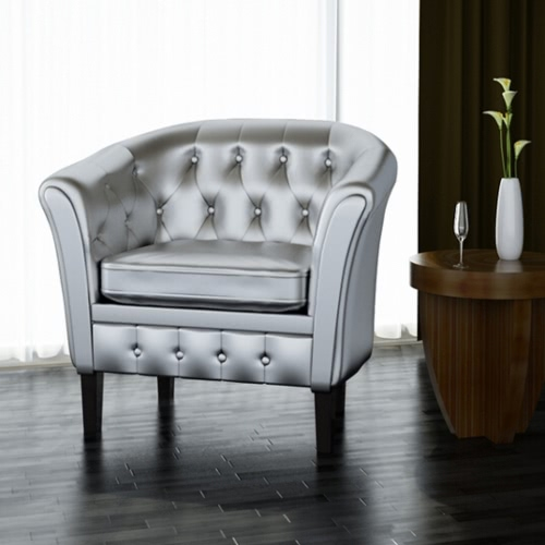 Chesterfield Sessel Silber