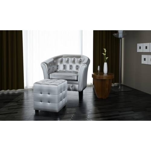 Chesterfield armchair with stool silver