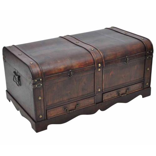 Trunks bois coffre en bois avec tiroirs poitrine table basse