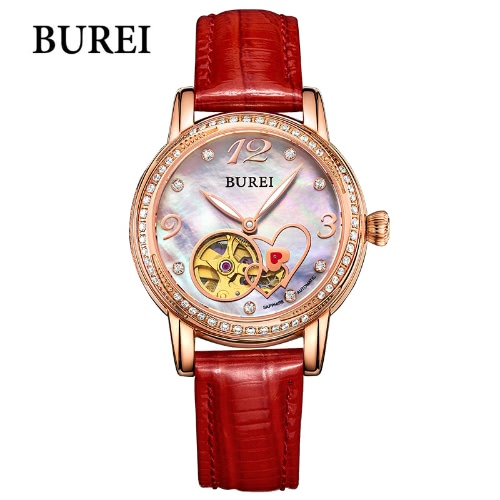 BUREI Brand Women Watch Automatic Genuine Leather Strap Sapphire Glass Analog Shell Dial Wristwatch Lady Dress Watches