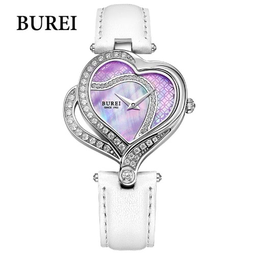BUREI Luxury Brand Watch Women Quartz Watch Genuine Leather Strap 30m Waterproof Wristwatch Rhinestone Heart Dial Wrist-watch