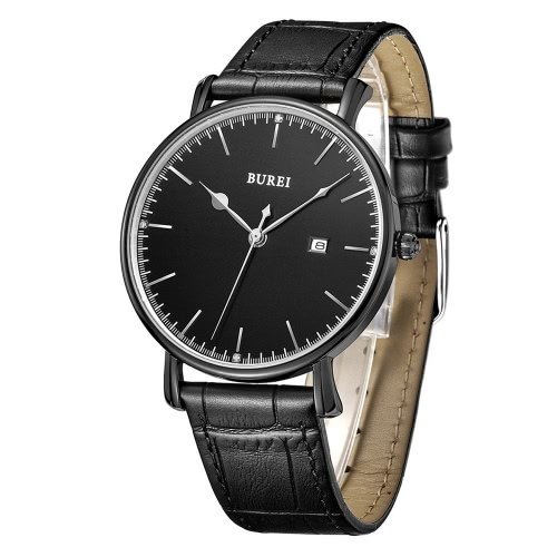 BUREI relógios de luxo de couro de quartzo de couro genuíno