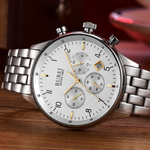 BUREI Luxury Brand Men's Fashion Analog Multi-function Waterproof Quartz Watch