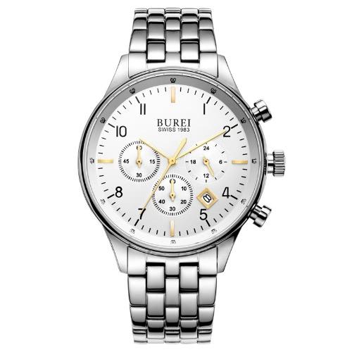 BUREI relógios de luxo marca homens relógio de quartzo de moda