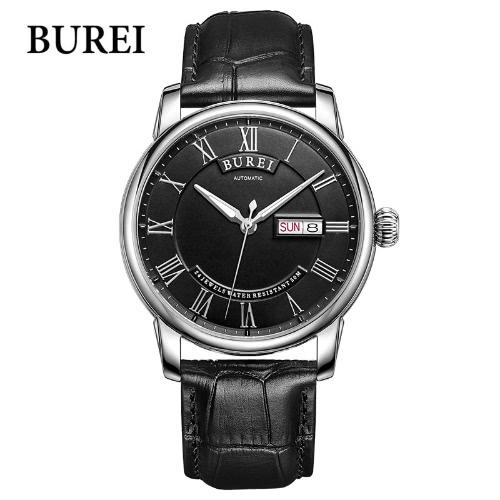 BUREI Auto Date Watch Men Relógios impermeáveis analógicos