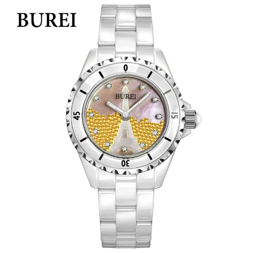 BUREI Women Business Watch Ceramic Band Analog Rhinestone Quartz Waterproof Wristwatch Lady Dress Watches