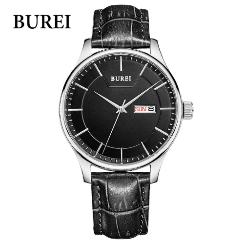 Burei simple reloj de los hombres del cuero genuino de acero inoxidable reloj de pulsera de cuarzo ocasional 30M impermeable de hoy, los modelos de negocio