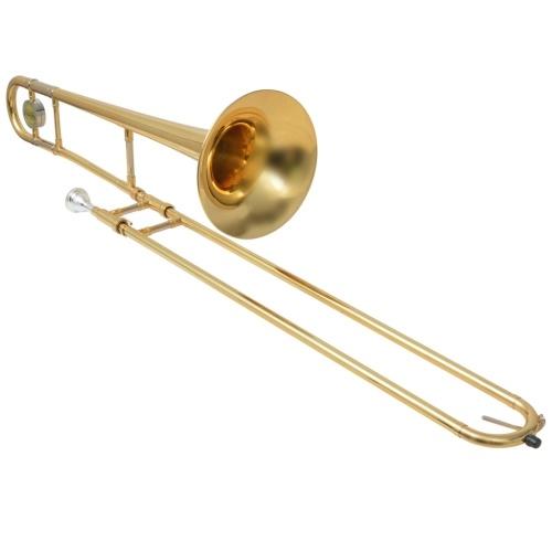 Trombone in ottone giallo con lacca dorata Bb