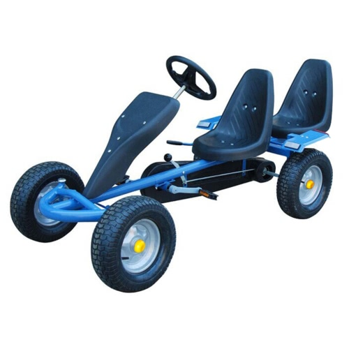 Karting azul como biplaza coche de pedales