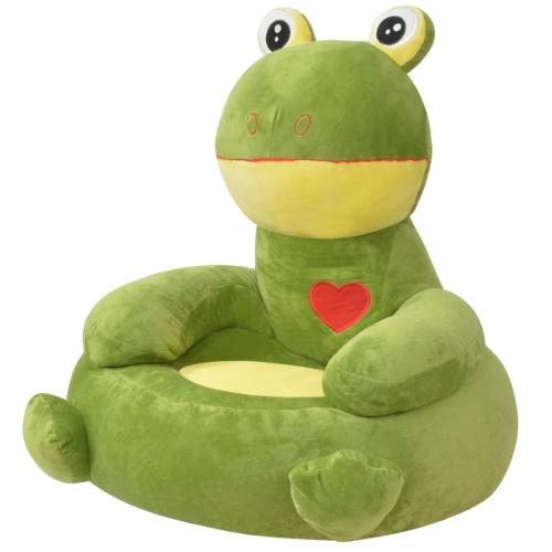 Pluszowe krzesło dziecięce Frog Green