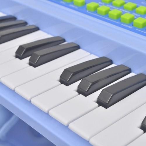 Фортепиано с 37 клавишами и испражнений микрофон / игрушка Дети Синий