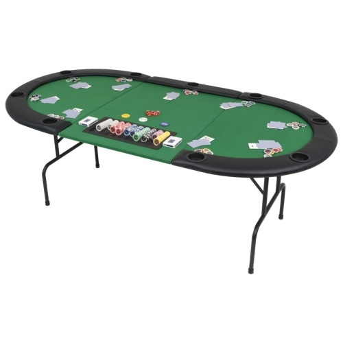 9-Player Folding Poker Table 3 Fold Oval Green