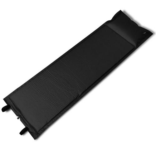 Colchoneta negra auto-hinchable individual, 185 x 55 x 3 cm