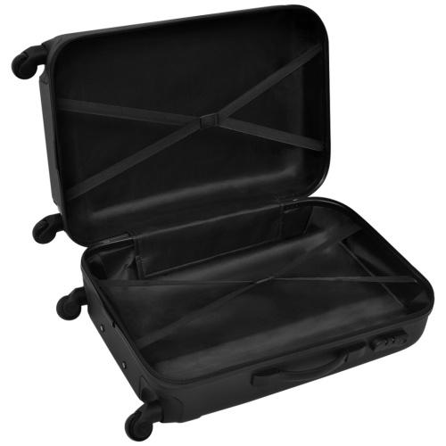 3 pcs. hard-shell travel case set trolley black