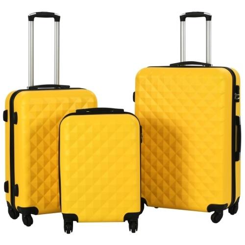 3PCS Hard Shell Trolley Conjunto Amarelo Bagagem ABS