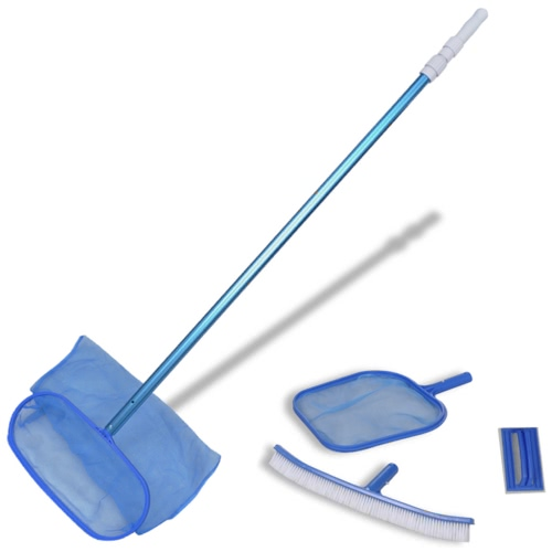 Pool Cleaning Set Brush 2 Leaf Skimmers 1 Telescopic Pole