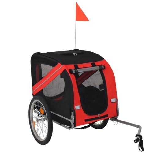 Remorque de vélo pour chiens Noir et rouge