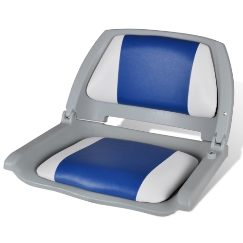 Boat seat with folding backrest and seat cushion 41 x 51 x 48 cm