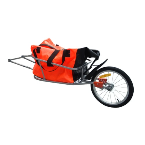 Remolque de bicicleta de una sola rueda con equipaje del bolso