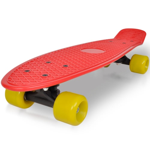 Retro Skateboard mit Red Top Yellow Wheels 6.1