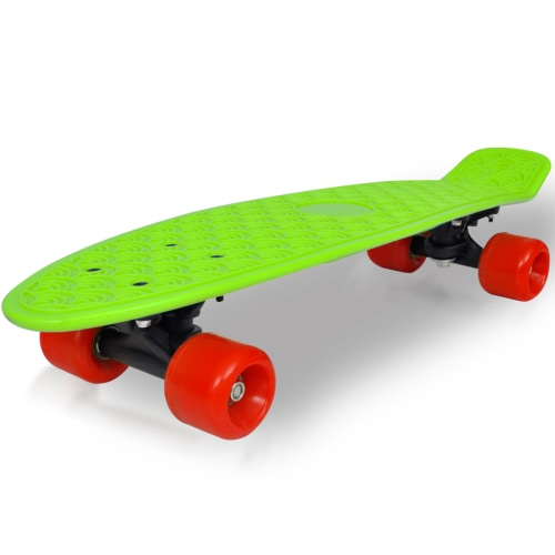 Retro Skateboard mit Green Top Red Wheels 6.1