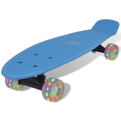 Retro Skateboard blu con LED Ruote