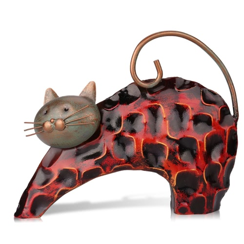 Tooarts Metal sculptrue  Iron sculpture  Abstract sculpture    Lazy cat    Animal sculpture  Crafting   Home furnishing articles     Decoration   Art