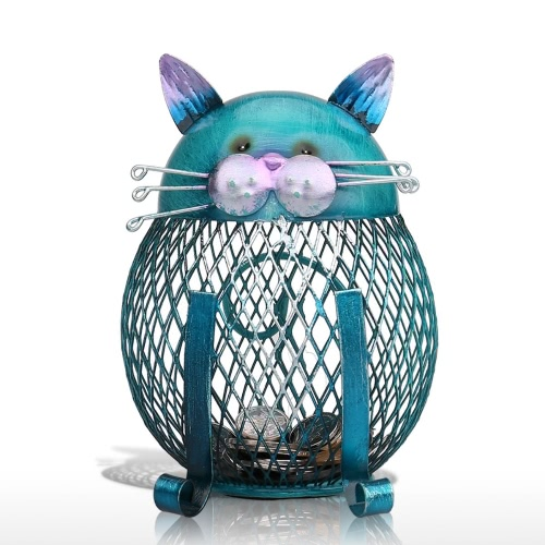 Tooarts Cat coin box  Piggy bank Animal ornament  Creative ornament Iron art ornament  Handcrafts Interior decoration