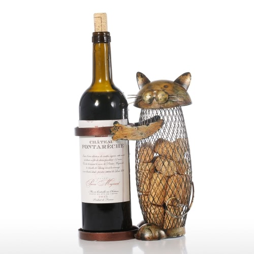 Tooarts Cat Wine holder Cork Container Home Decor Iron Craft Gift Handicraft Animal Ornament