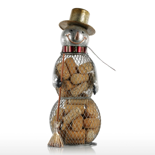 Christmas Snowman Cork Container Metal Handcrafts Home Decoration  Practical Crafts Christmas Gift