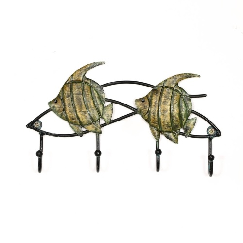 Tooarts Fish Wall Hook Iron Wall Hanger Set of 4 Decorative Hanging Hooks Screws for Mounting Included