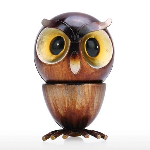 Tooarts Owl Fun Ornament Iron Art Decor Handmade Craft Rotating Head desmontable Decoración para el hogar y el escritorio Regalo perfecto para los amantes del búho y los animales