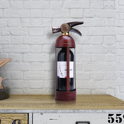 Tooarts Fire Extinguisher Shape Wine Rack Tabletop Creative Wine Rack Sturdy Iron Material Handmade Craft Display and Storage Rack Home Decor