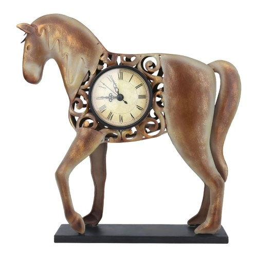 Tooarts Horse Clock Vintage Metal Horse Figurine Hollowed Pattern Mute Table Clock Operated by One AA Battery (not included)