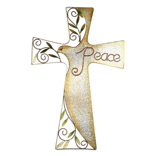 Tooarts Bird of Peace Cross Hanging Art Wall Decor Decorative Bird and Olive Antique Iron Hanging Home Decor Collectible Gift (24inches)