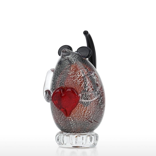Tooarts Mouse Glass Sculpture Handmade Glass Ornament Animal Sculpture Home Decor Gift Craft