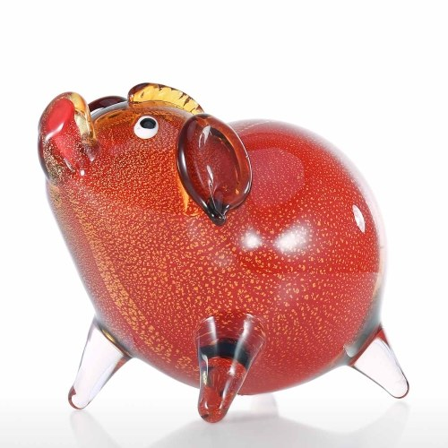 Glass Pig Hand Blown Glass Art Pig Figurine Animal Glass Craft Lovely Collectible Pig Ornament Home Decor