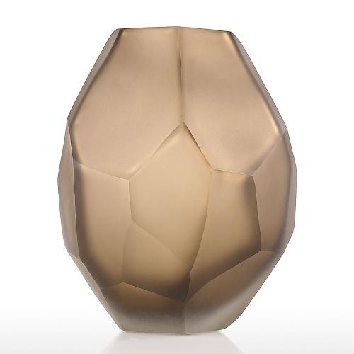 Florero de vidrio de chocolate con florero de forma única Florero pequeño y elegante Florero decorativo para la decoración del hogar Oficina Configuración de lugar