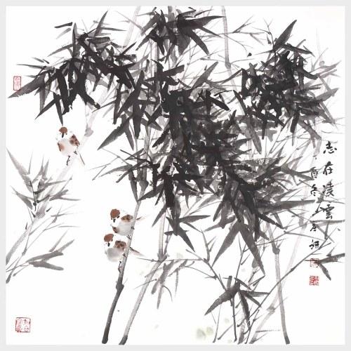 Hohe Ehrgeiz Bambus und Sparrow Natur Kunst Landschaftsmalerei Druck Bilder Wandkunst für Home Office Decor