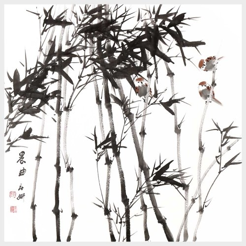 Morning Chorus Bamboo and Bird Painting Natural Art Landscape Pictures Wall Art Home Decor Hanging Artwork