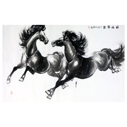 Xiongfeng Wanli Tu Horse Painting Wall Art Artist Handmade Traditional Chinese Painting Cultural Work Home or Office Decor Carefully Package