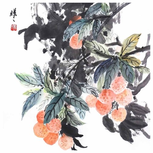 Tooarts Lychee Garden Pintura china Arte de la pared Artista Pintado a mano Pincel chino Pintura Decoración tradicional Decoración de la oficina en casa Pintura Empaquetado cuidadosamente